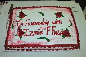 Farewell dinner -- cake!